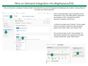Films on Demand Integration into Brightspace/D2L