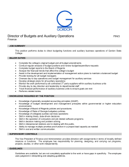 Director of Budgets and Auxiliary Operations  FIN/3 Finance
