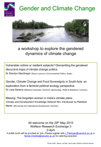 Gender and Climate Change a workshop to explore the gendered