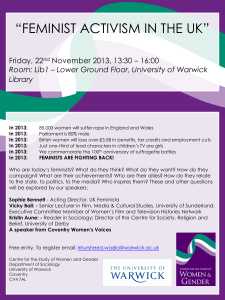 """FEMINIST ACTIVISM IN THE UK""  Friday, 22 November 2013, 13:30 – 16:00"