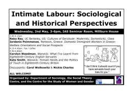 Intimate Labour: Sociological and Historical Perspectives