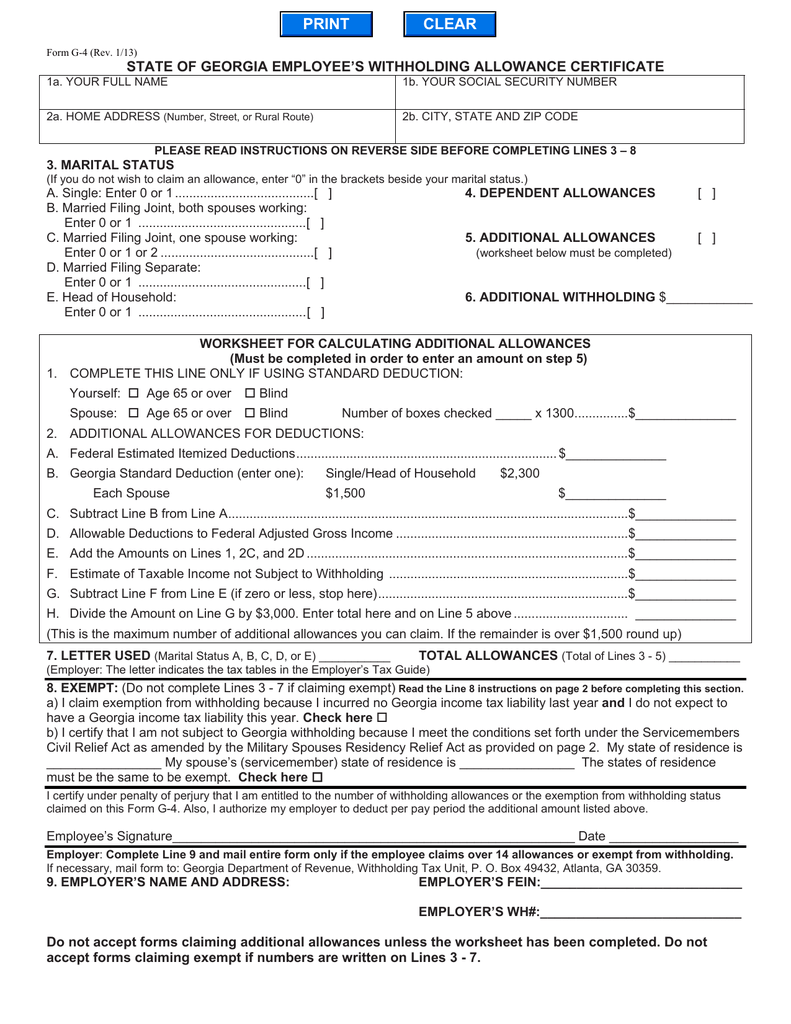 worksheet Standard Deduction Worksheet For Dependents state of georgia employees withholding allowance certificate 3 marital status