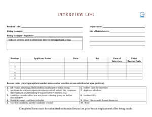 INTERVI E W LOG Number Applicant Name