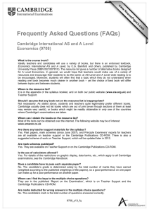 Frequently Asked Questions (FAQs)  Cambridge International AS and A Level Economics (9708)