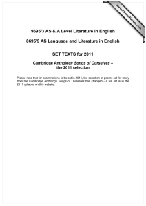 9695/3 AS & A Level Literature in English