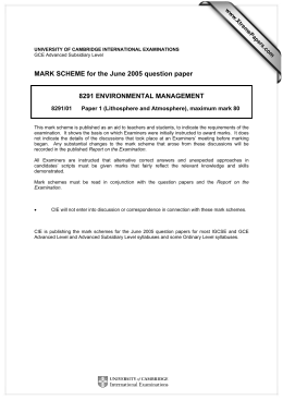 MARK SCHEME for the June 2005 question paper  8291 ENVIRONMENTAL MANAGEMENT www.XtremePapers.com