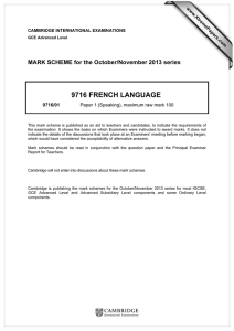 9716 FRENCH LANGUAGE  MARK SCHEME for the October/November 2013 series