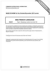 8682 FRENCH LANGUAGE  MARK SCHEME for the October/November 2013 series