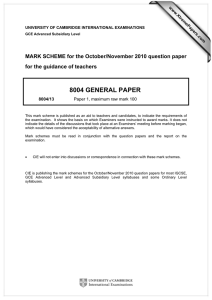 8004 GENERAL PAPER  MARK SCHEME for the October/November 2010 question paper