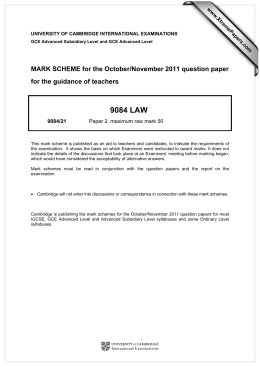 9084 LAW  MARK SCHEME for the October/November 2011 question paper