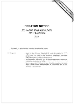 ERRATUM NOTICE SYLLABUS 9709 A/AS LEVEL MATHEMATICS