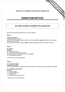 ERRATUM NOTICE AS LEVEL PHYSICAL SCIENCE SYLLABUS 8780 www.XtremePapers.com