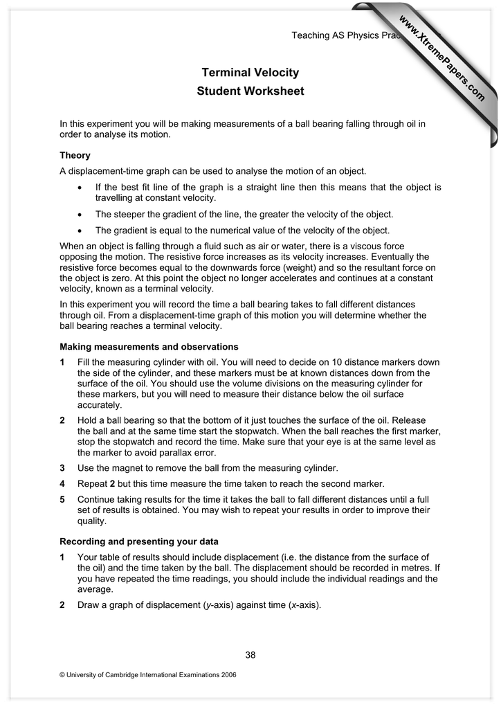 Terminal Velocity Student Worksheet XtremePapers – Distance Displacement Worksheet