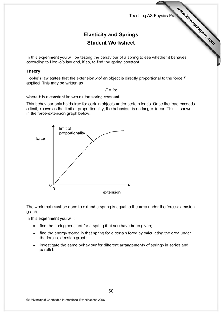 Elasticity and Springs Student Worksheet www.XtremePapers.com