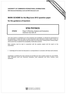 9702 PHYSICS  MARK SCHEME for the May/June 2012 question paper