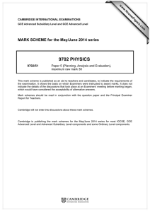 9702 PHYSICS  MARK SCHEME for the May/June 2014 series