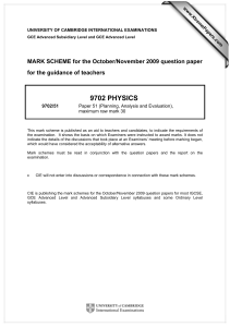 9702 PHYSICS  MARK SCHEME for the October/November 2009 question paper