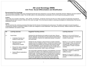 AS Level Sociology (9699) Unit Three: Social Differentiation and Stratification www.XtremePapers.com