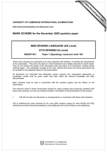 MARK SCHEME for the November 2005 question paper