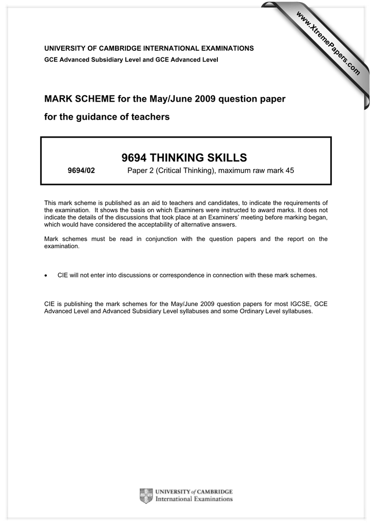 Critical Thinking Application Paper June 2009