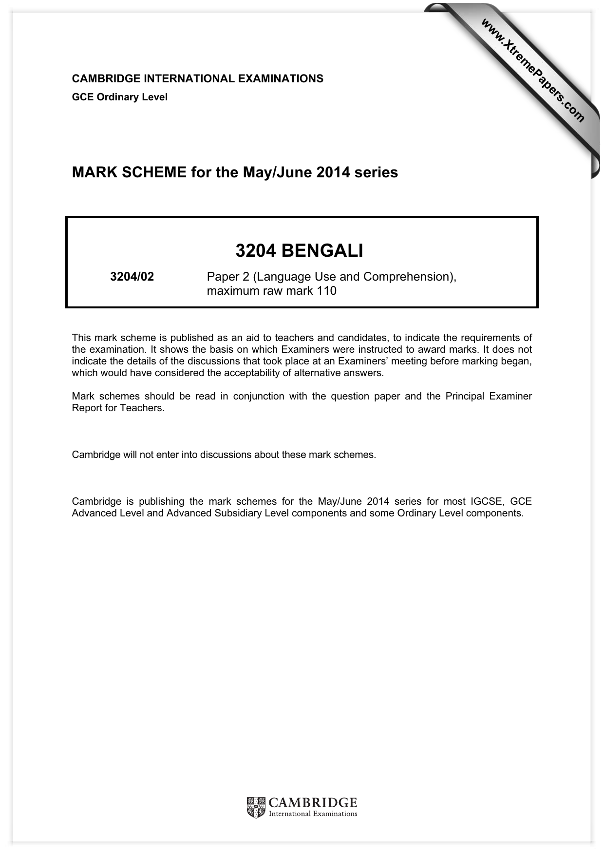 3204 BENGALI MARK SCHEME for the May/June 2014 series