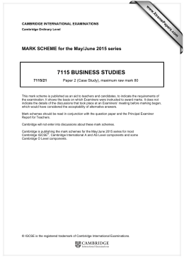 7115 BUSINESS STUDIES  MARK SCHEME for the May/June 2015 series