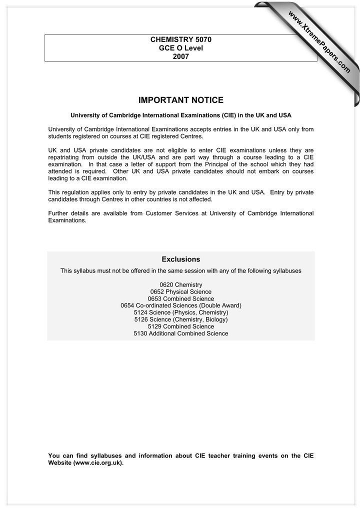 Important notice xtremepapers chemistry 5070 gce o level xtremepapers chemistry 5070 gce o level urtaz Gallery