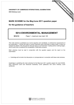 5014 ENVIRONMENTAL MANAGEMENT  MARK SCHEME for the May/June 2011 question paper