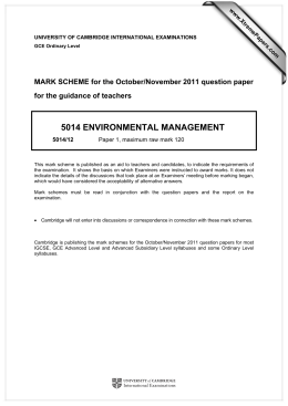 5014 ENVIRONMENTAL MANAGEMENT  MARK SCHEME for the October/November 2011 question paper