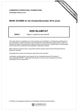 2058 ISLAMIYAT  MARK SCHEME for the October/November 2014 series