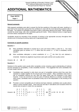 General Certificate of Education Ordinary Level 4037 Additional Mathematics November 2009
