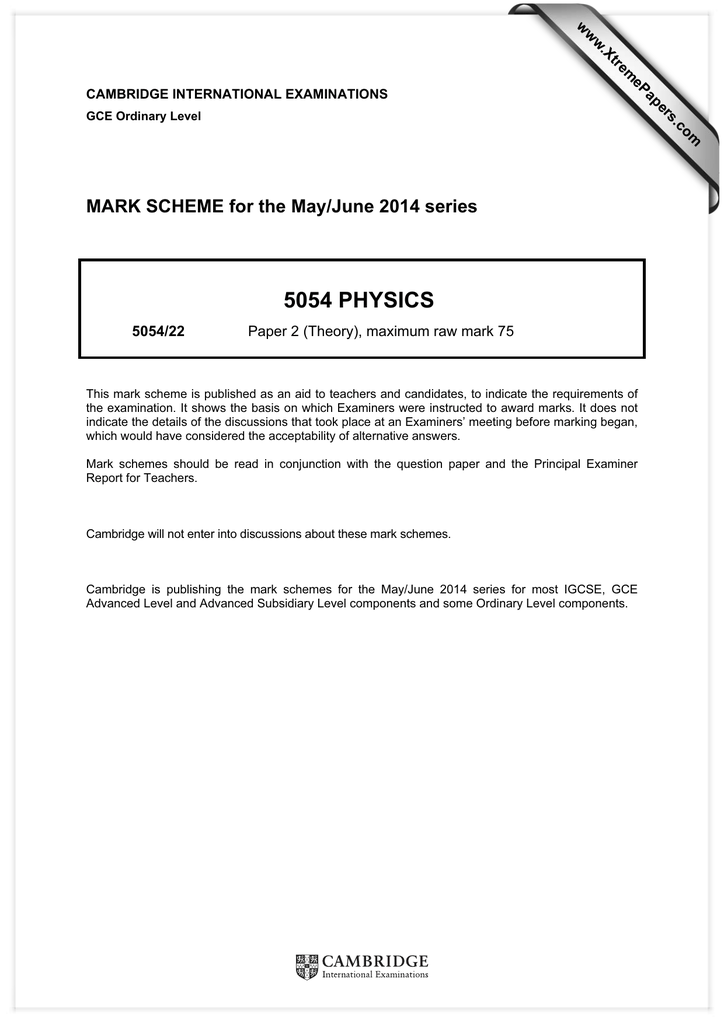 5054 PHYSICS MARK SCHEME for the May/June 2014 series