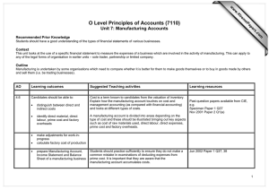 O Level Principles of Accounts (7110) Unit 7: Manufacturing Accounts  www.XtremePapers.com