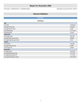 Report for November 2006 General Statistics Summary