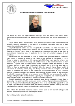 In Memoriam of Professor Yavuz Basar
