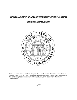 GEORGIA STATE BOARD OF WORKERS' COMPENSATION EMPLOYEE HANDBOOK