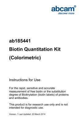 ab185441 Biotin Quantitation Kit (Colorimetric) Instructions for Use