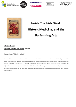 Inside The Irish Giant: History, Medicine, and the edicine, and the Performing Arts