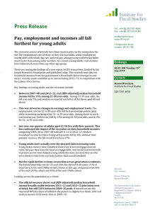 Press Release Pay, employment and incomes all fall furthest for young adults
