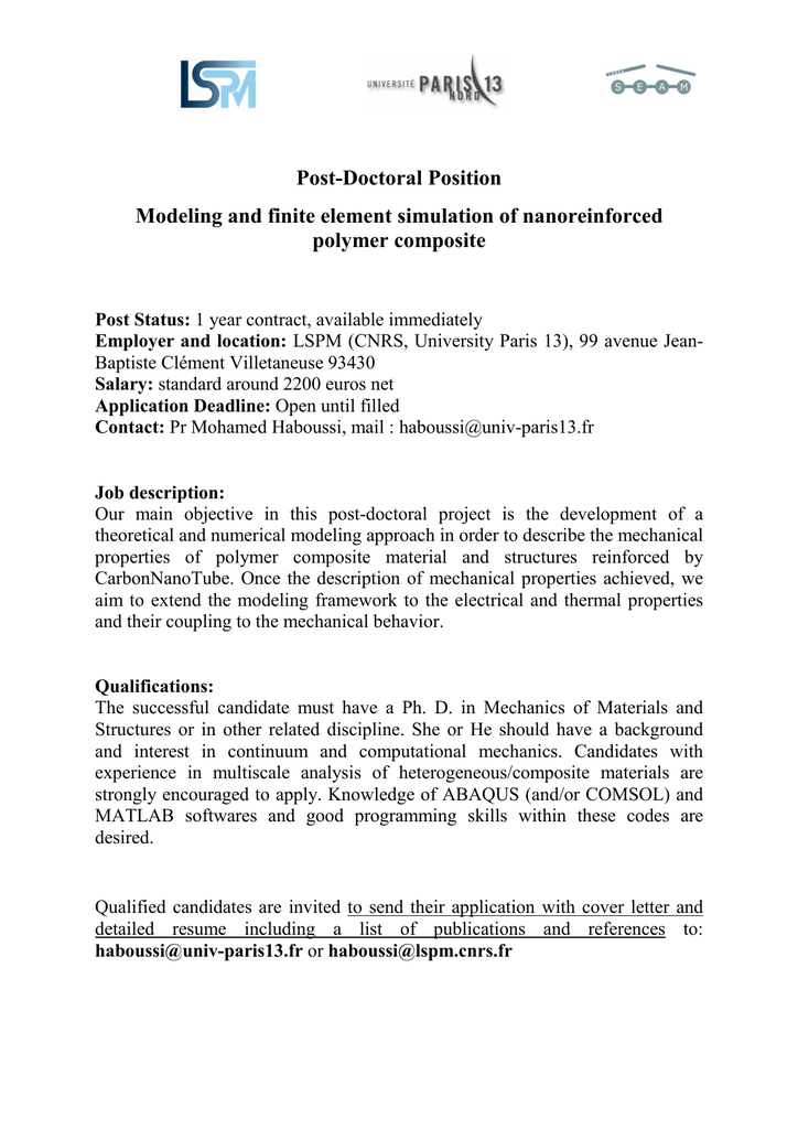 Post-Doctoral Position Modeling and finite element