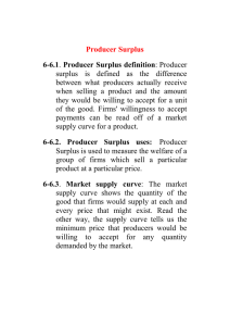 Producer Surplus 6-6.1 Producer