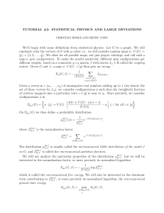 TUTORIAL #2: STATISTICAL PHYSICS AND LARGE DEVIATIONS