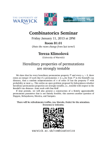Combinatorics Seminar Tereza Klimoˇsov´ a Hereditary properties of permutations