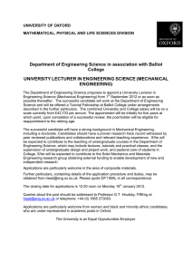 Department of Engineering Science in association with Balliol College UNIVERSITY LECTURER