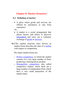 Chapter 8: Market Structures