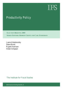 IFS  Productivity Policy The Institute for Fiscal Studies