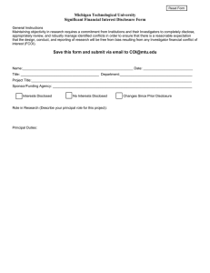Michigan Technological University Significant Financial Interest Disclosure Form