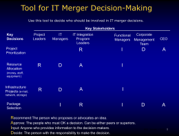 Tool for IT Merger Decision-Making