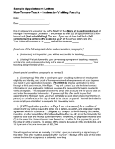 Sample Appointment Letter: Non-Tenure-Track – Instructor/Visiting Faculty