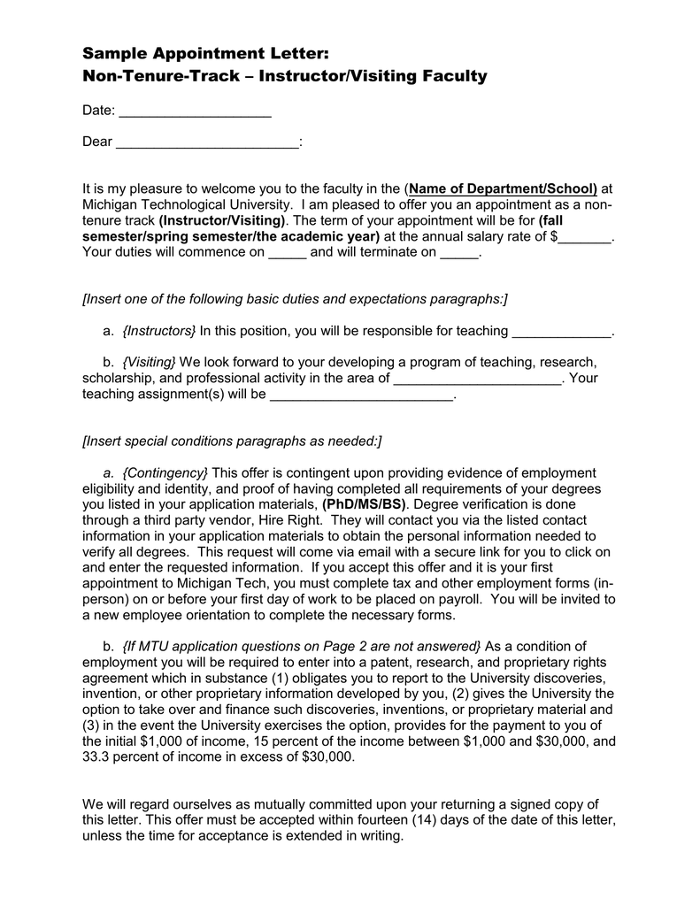 Sample appointment letter non tenure track instructorvisiting sample appointment letter non tenure track instructorvisiting faculty altavistaventures Image collections